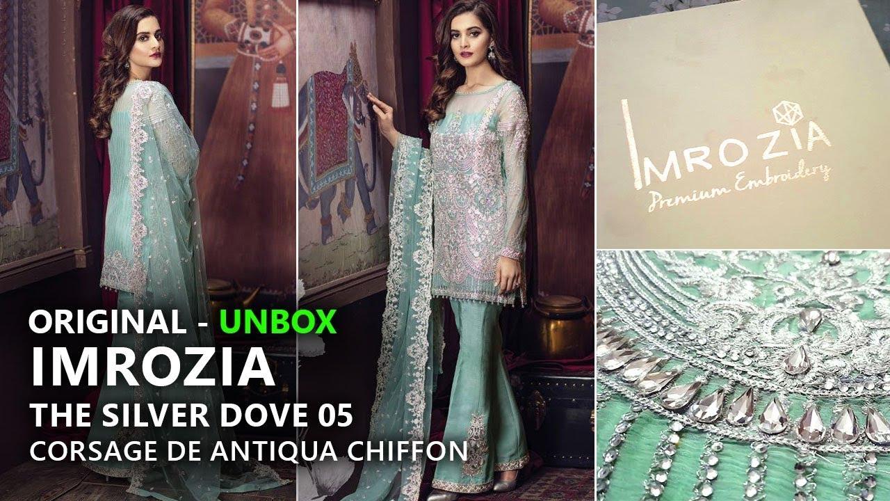 3e0029df13 Imrozia Chiffon Collection 2018 - Unbox 05 The Silver Dove - Pakistani  Branded Dresses