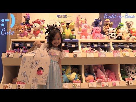 Kid's Toy Channel: Cute Stuffed Toys! Build-A-Bear Workshop Visit. Dory, Nemo, Star Wars, etc...