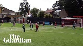 Leatherhead FC player scores with audacious flick over defender and strike screenshot 1