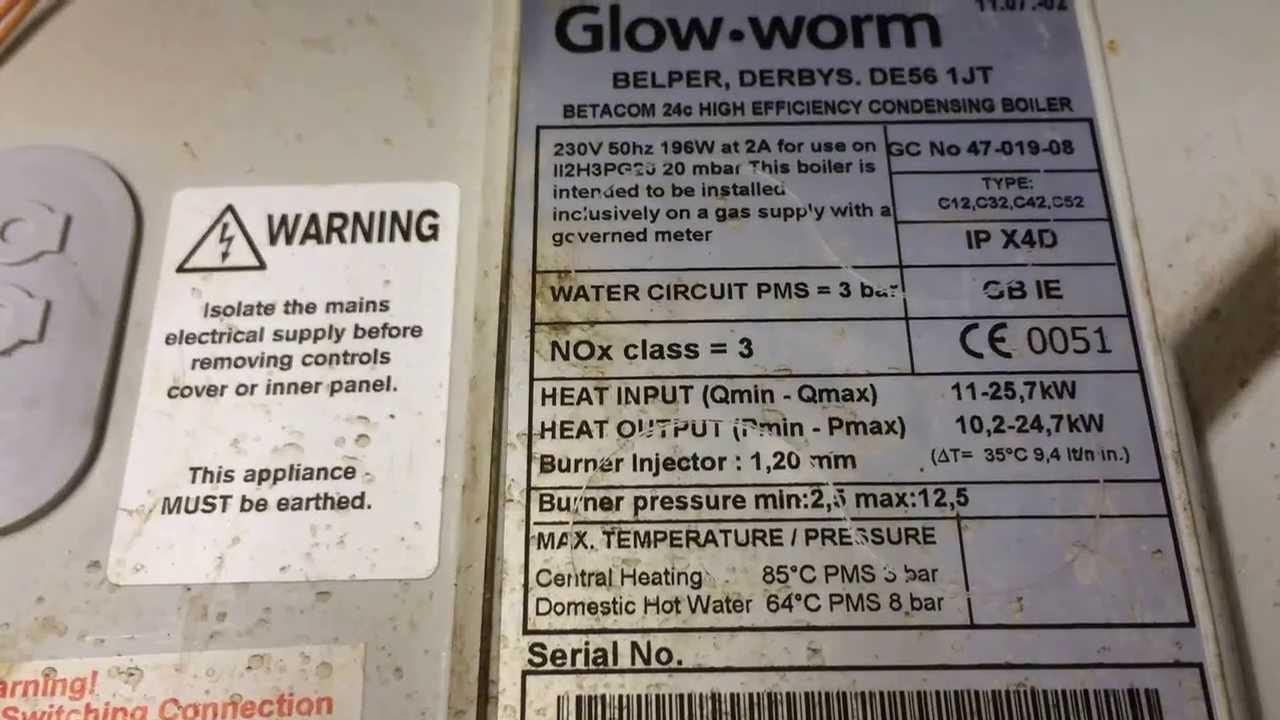 Glow worm betacom 24 c GC 4701908 hot water not working - YouTube