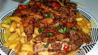 Pepper Pork with Cheesy Fries  Trinidad &amp Tobago