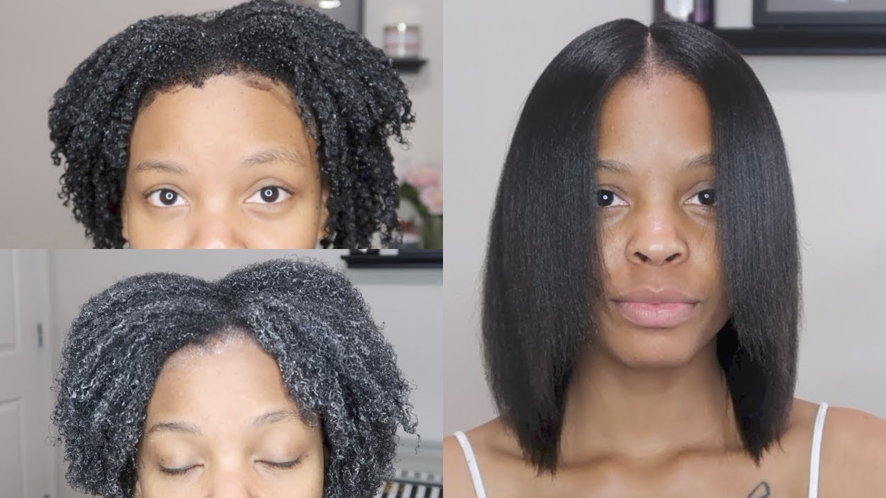 Natural Hair Silk Press Rinse Keratin Treatment Length Check 3 4 Month Routine Youtube