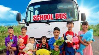 Kids Go To School By Big Bus Wheel On The Bus Song Nursery Rhymes