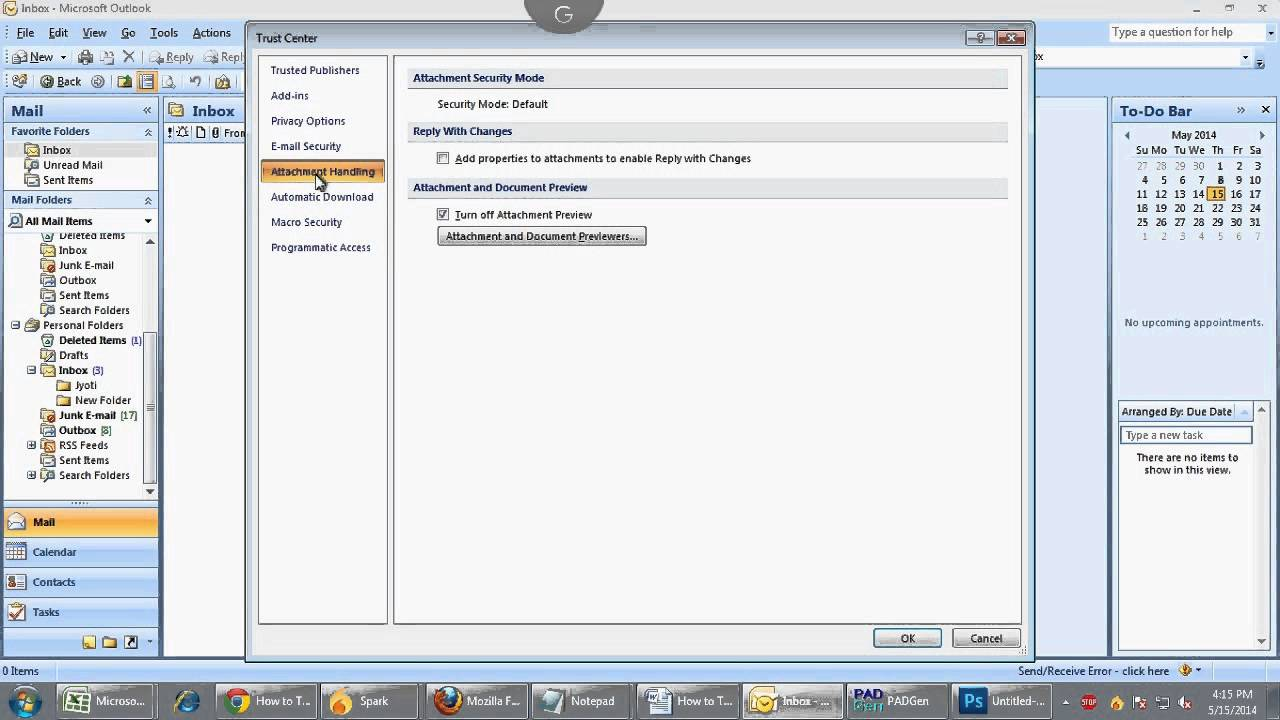 How to Turn On or Off Attachment preview in Outlook 2010 or 2007 Manually?