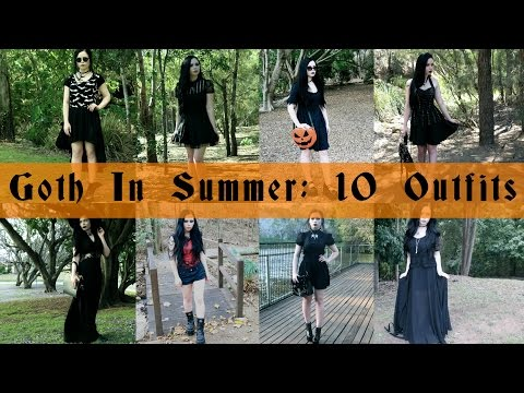 GOTH IN SUMMER || 10 Outfit Lookbook - ReeRee Phillips