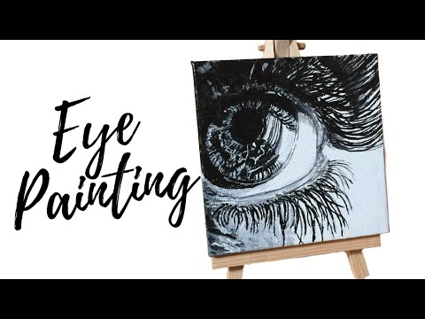 Realistic Eye Painting Demo / Black and White (Easy)