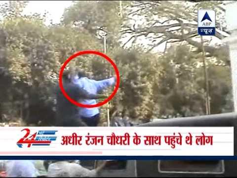Adhir Ranjan Chowdhury leads violent protest in Bengal