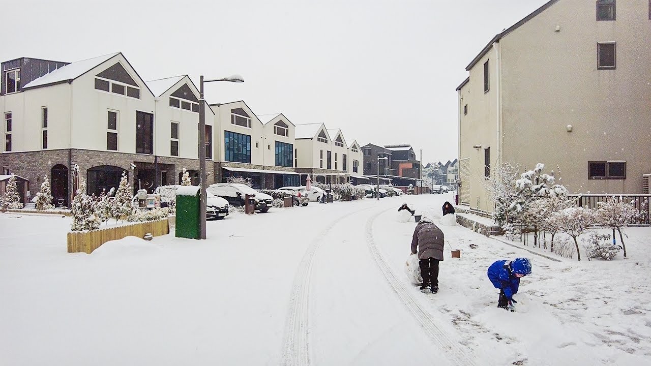 [4K] Winter Snowfall Walk in Gimpo City Gyeonggi-do Korea 폭설이 내린 경기도 김포시 운양역 일대와 모담산 눈꽃 산책