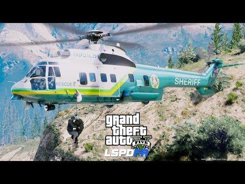 GTA 5 LSPDFR Coastal Callouts - Los Angeles County Sheriff Rescue 5 Super Puma Mountain Cliff Rescue