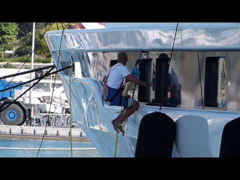 Crew working on superyacht Lady Gulya in Antibes