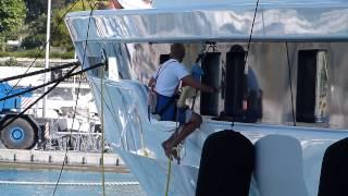Crew working on superyacht Lady Gulya in Antibes