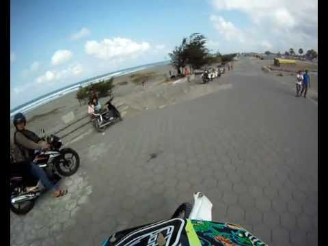 Indonesian enduro adventure in parangtritis beach