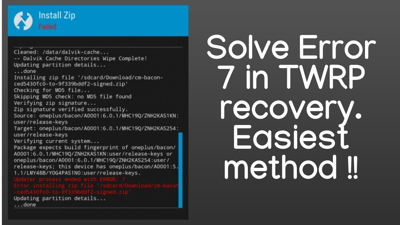 How to solve Error 7 in TWRP recovery during ROM flashing