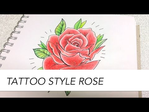 803f74752 How to draw a rose // Tattoo style // Cartoon Style - YouTube