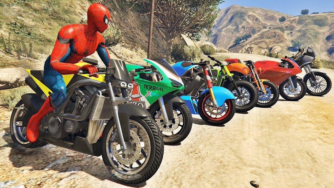 homem aranha e amigos salto com moto motos com spiderman ir games