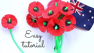 POPPY FLOWER CRAFT for ANZAC DAY (Easy tutorial)