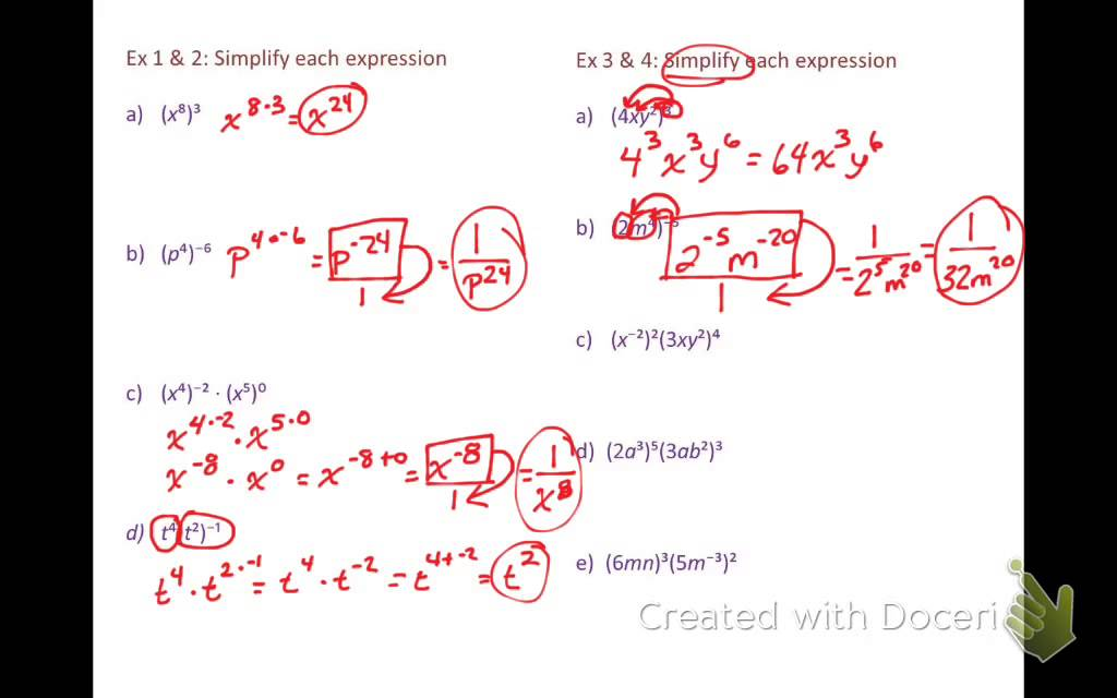 Properties of exponents worksheet answer key