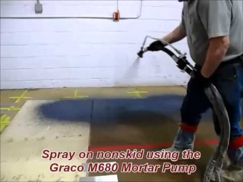 Spraying On Nonskid Coating Using The Graco M680 Mortar Pump