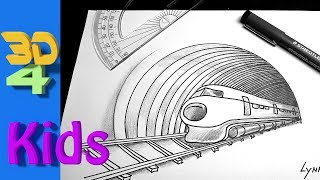 Wow!! easy 3d drawing of TRAIN and Tunnel!
