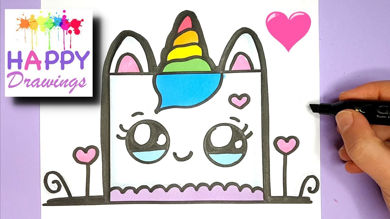 How To Draw A Cute Unicorn Birthday Cake Easy Happy Drawings Youtube