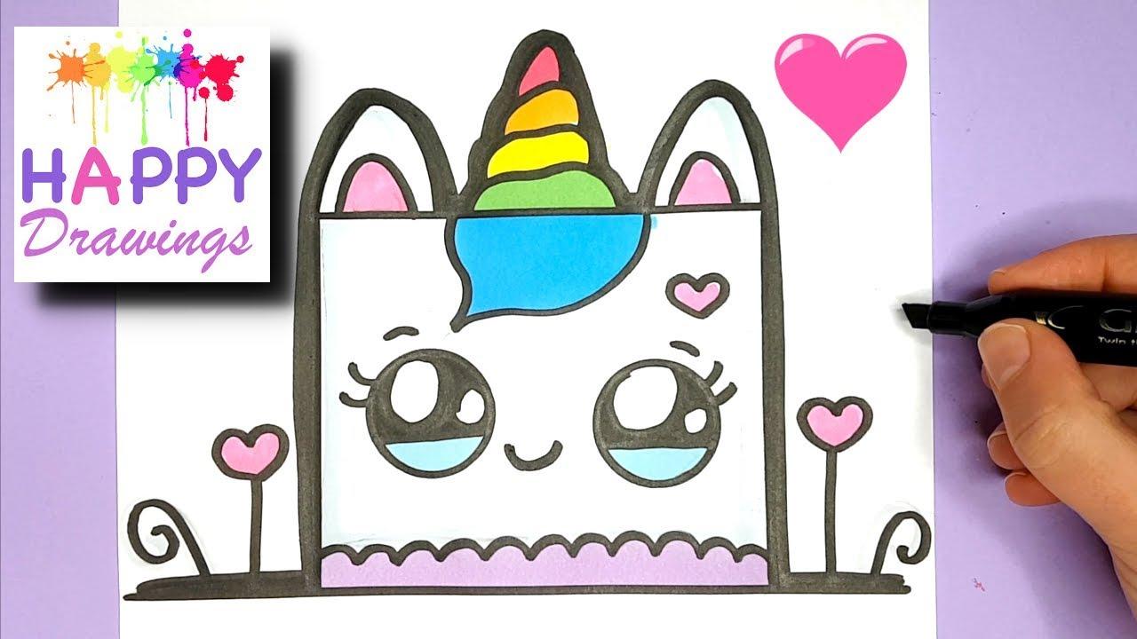 HOW TO DRAW A CUTE UNICORN BIRTHDAY CAKE EASY - HAPPY ...