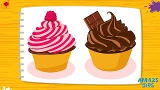 Как Нарисовать Пирожное - Кекс. Рисунки для Детей. Учимся Рисовать. Уроки Рисования для Начинающих
