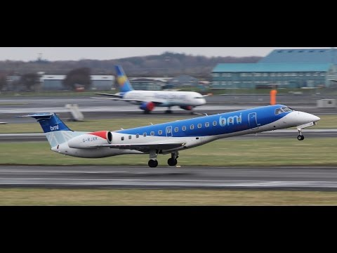 BMI Regional Embraer 145 Circuit Training At Prestwick Airport