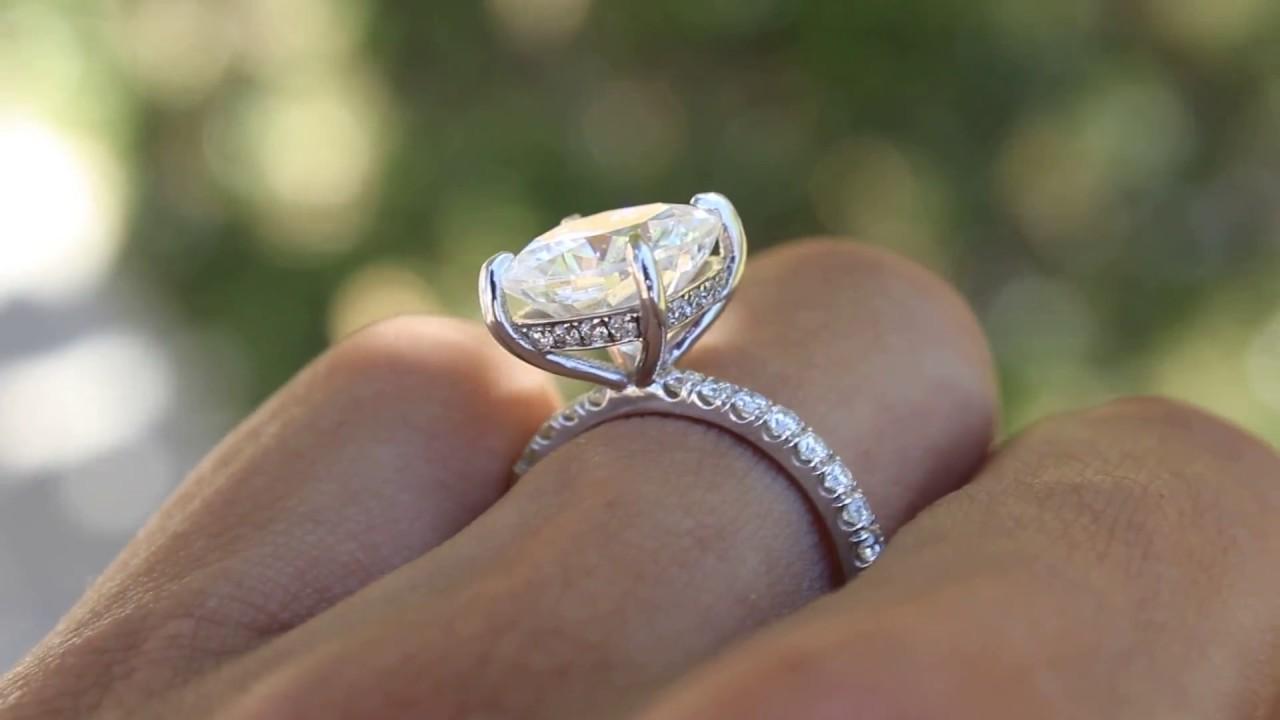 1 Carat Cushion Cut Diamond Halo Engagement Ring  YouTube