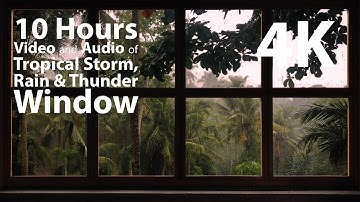 4K 10 hours - Tropical Storm Window with Rain & Thunder - relaxation, meditation, nature