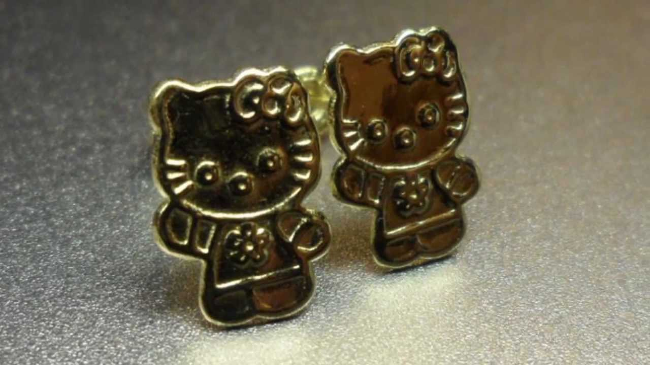 10k Hello Kitty Solid Gold Stud Earrings Youtube