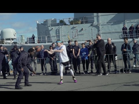 Professor hoops at Navy Base | INSANE FINISH | vs 250lb Navy Officer