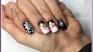 Nail Art - monocolore nero e rosa con effetto zucchero e foil fiocco oro Thumbnail