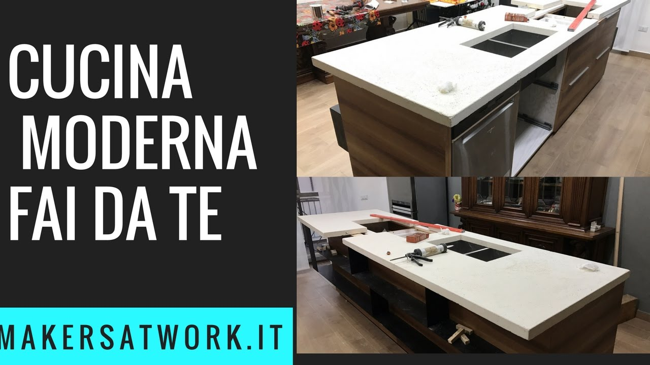 Top cucina in cemento fai da te youtube for Cucina muratura fai da te