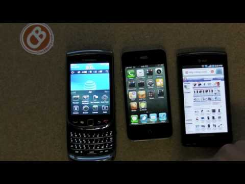 Web Browser Shootout: BlackBerry Torch 9800 vs. iPhone 4 vs. Samsung Captivate