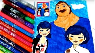 Miraculous Ladybug Marinette Dupain-Cheng and her parents Coloring book for kids video