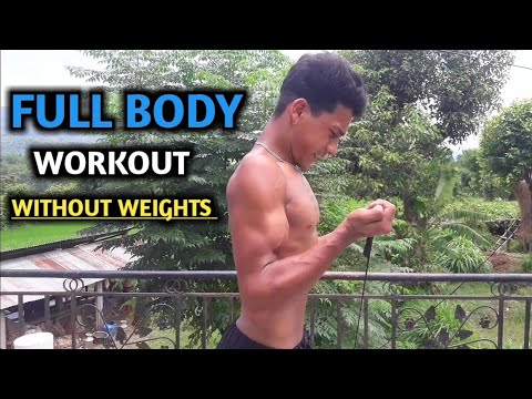 Without weight Full Body Workout Using Rubber and Bamboo | ANISH FITNESS |