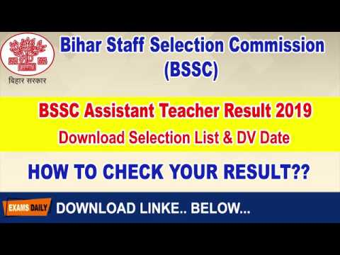 BSSC Assistant Teacher Result 2019 Download Selection List DV Date