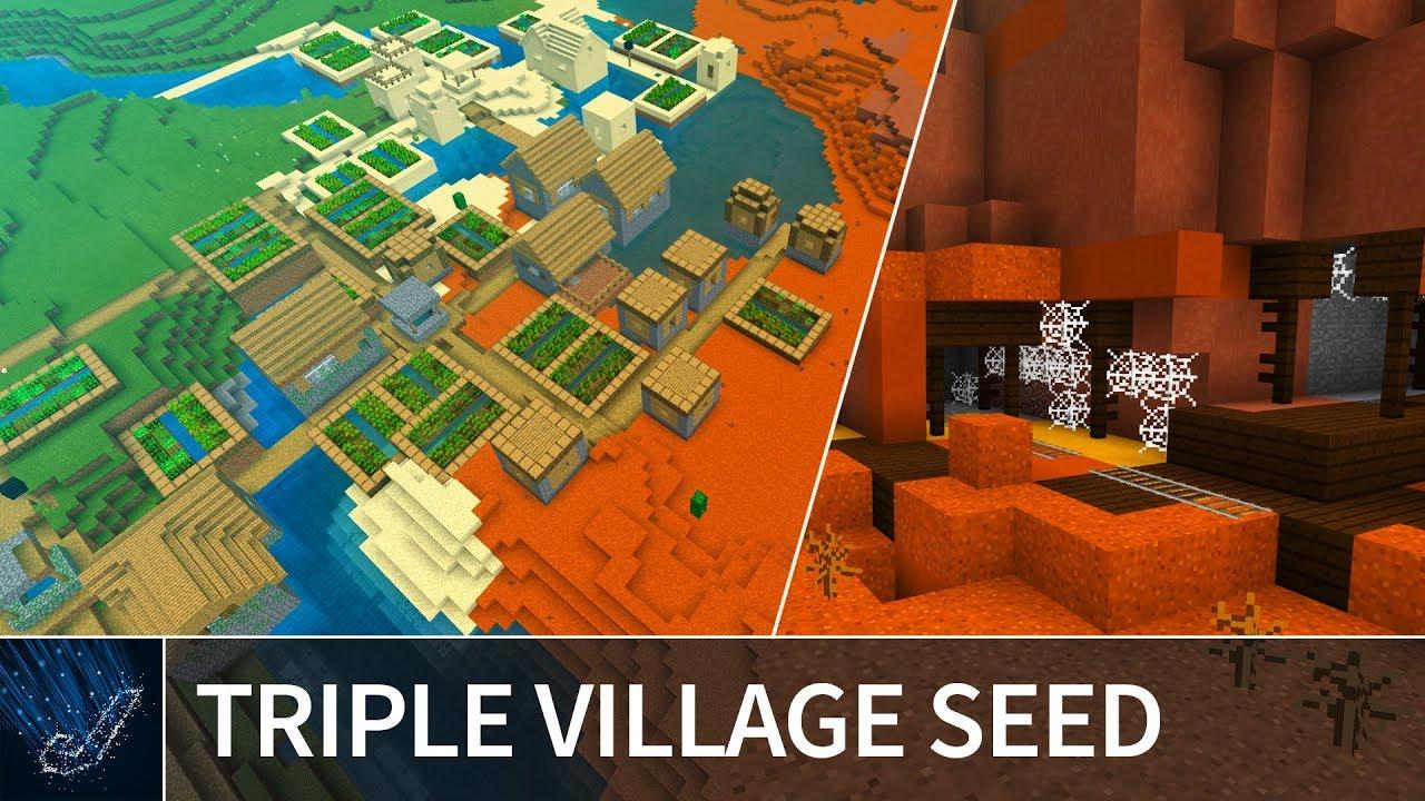 Minecraft 9.9: EPIC SEED! Triple Village, Mesa Mineshaft & Flower Biome -  MCPE / Minecraft 9.9 / 9.9