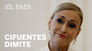 CRISTINA CIFUENTES DIMITE como presidenta madrileña