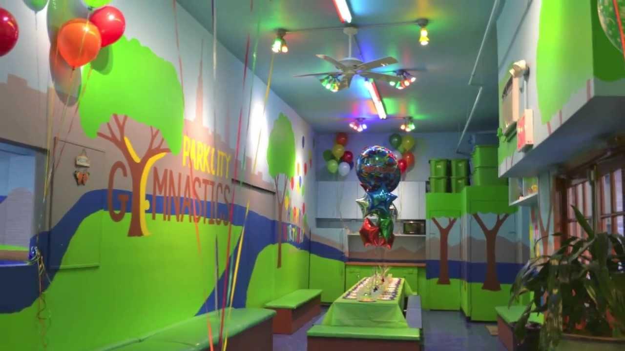 the birthday party room at a park city gymnastics birthday