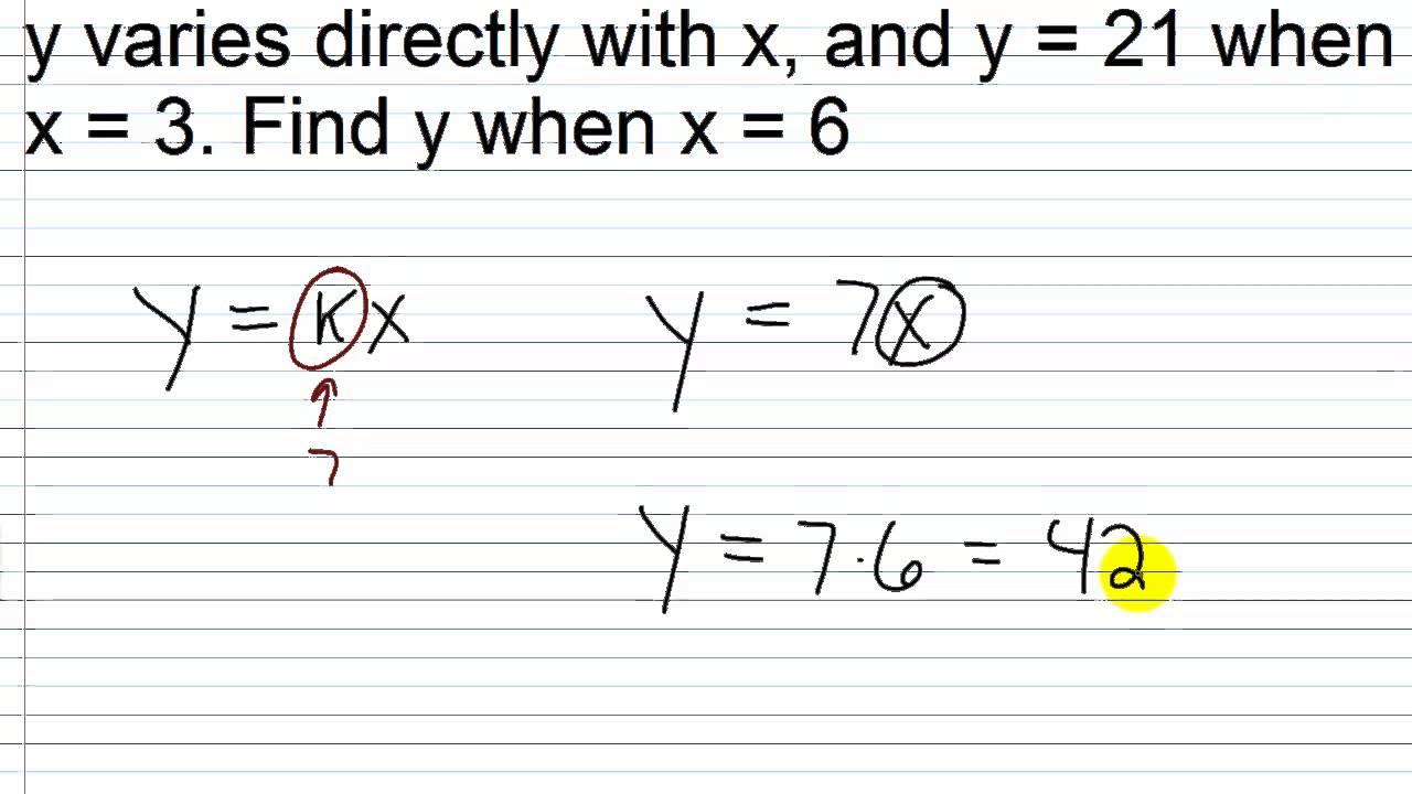 Algebra Ii Main Lesson Xi1: Direct Variation