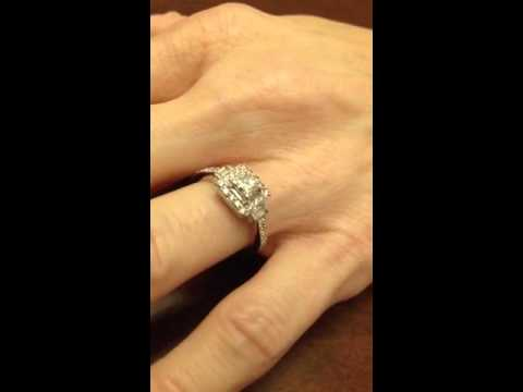 helzberg certified princess halo diamond white gold engagement ring - Helzberg Wedding Rings