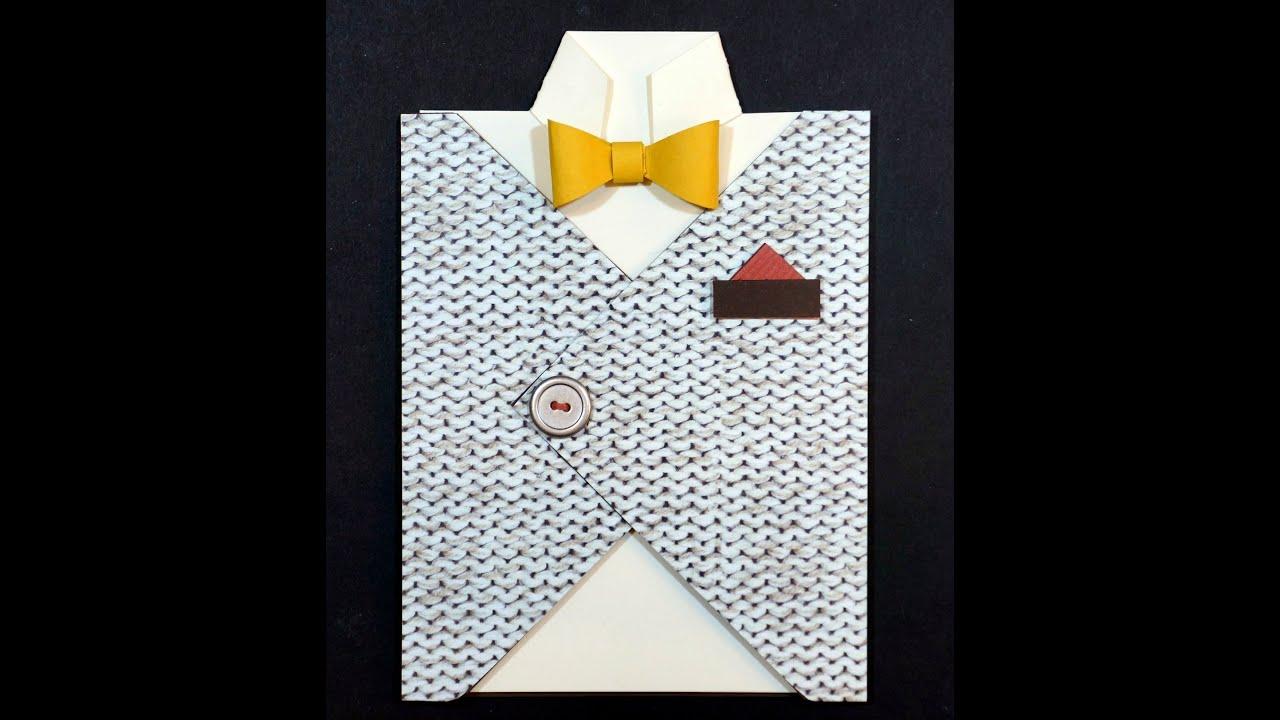 Shirt design envelope - Manly Vest Card With Stampin Up Envelope Punch Board