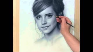 Рисование портрета Сухая кисть