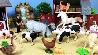 Learn Farm Animals Name - Farm Tractor - Fun Video For Babies Kids - Horse Cow Pig Dog