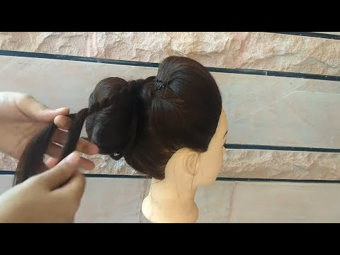 #EASY WEDDING BUN HAIRSTYLE \ HIGH BUN HAIRSTYLE ON SAREES FOR WEDDING FOR GIRLS AND WOMEN || thumbnail