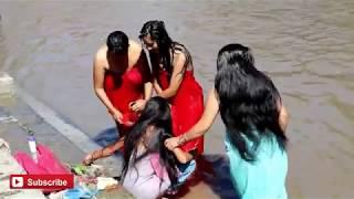Holy Bath in Devghat Ki Pauri Snan Open Bath Indian Hindu Women bath