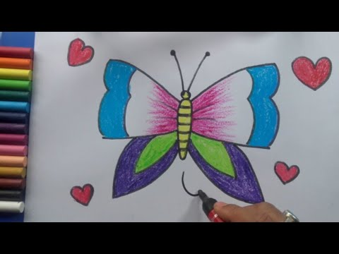 Easy Butterfly Drawing for kids, Art for Class 1, Art for Class 2, Art for Class 3, Art for class 4