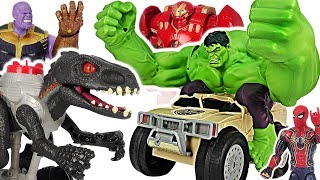 Marvel Avengers RC Hulk Smash vehicle! Defeat Thanos, Jurassic World walking Indoraptor! #DuDuPopTOY