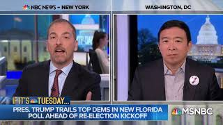 Chuck Todd hears Andrew Yang's Trump-Asian Joke for the first time
